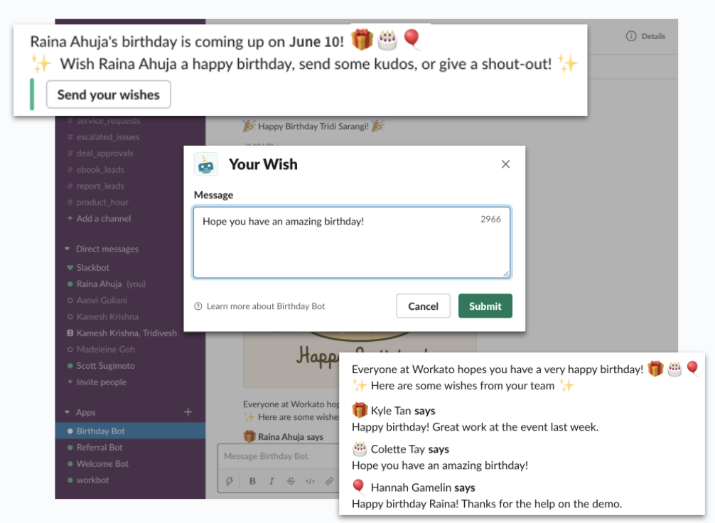 A Slack message from Birthday Bot that's asking an employee to submit a birthday wish for a colleague