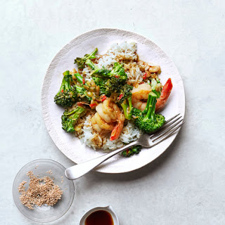 Shrimp and Broccolini Stir-Fry With Sesame Rice