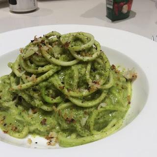 Zaghetti With Creamy Basil Pesto & Garlic Cauli Crumb