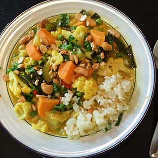 "Coconut Curry Vegetables with Cauliflower ""Rice"""