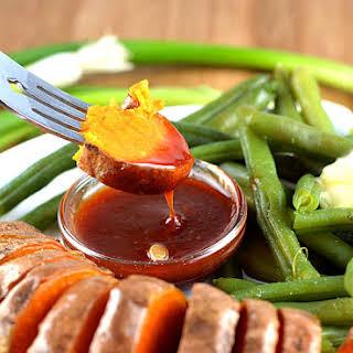 Roasted Sweet Potatoes with Tangy Plum Sauce {Vegan}.