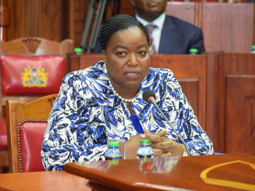 Former Foreign Affairs principal secretary Monica Juma is vetted by MPs for the position of cabinet secretary in the same ministry, February 8, 2018. /Courtesy