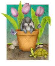 Photo: Bunny in Terra Cotta Pot :: Digital Illustration by Kim Buchheit