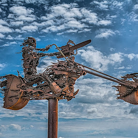 Ghost Rider by Darrin Ralph - Artistic Objects Other Objects ( clouds, skull, statue, motorcycle, rust )