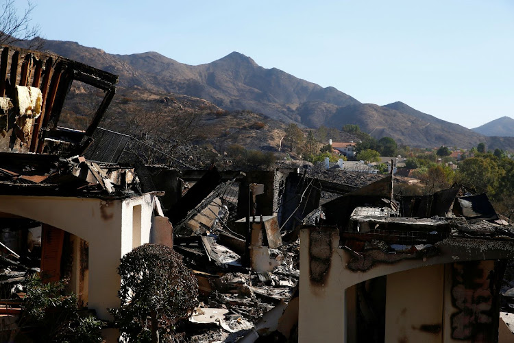 A home destroyed by the Woolsey Fire is seen in Thousand Oaks, California, the US, on November 12 2018. Picture: REUTERS/ERIC THAYER