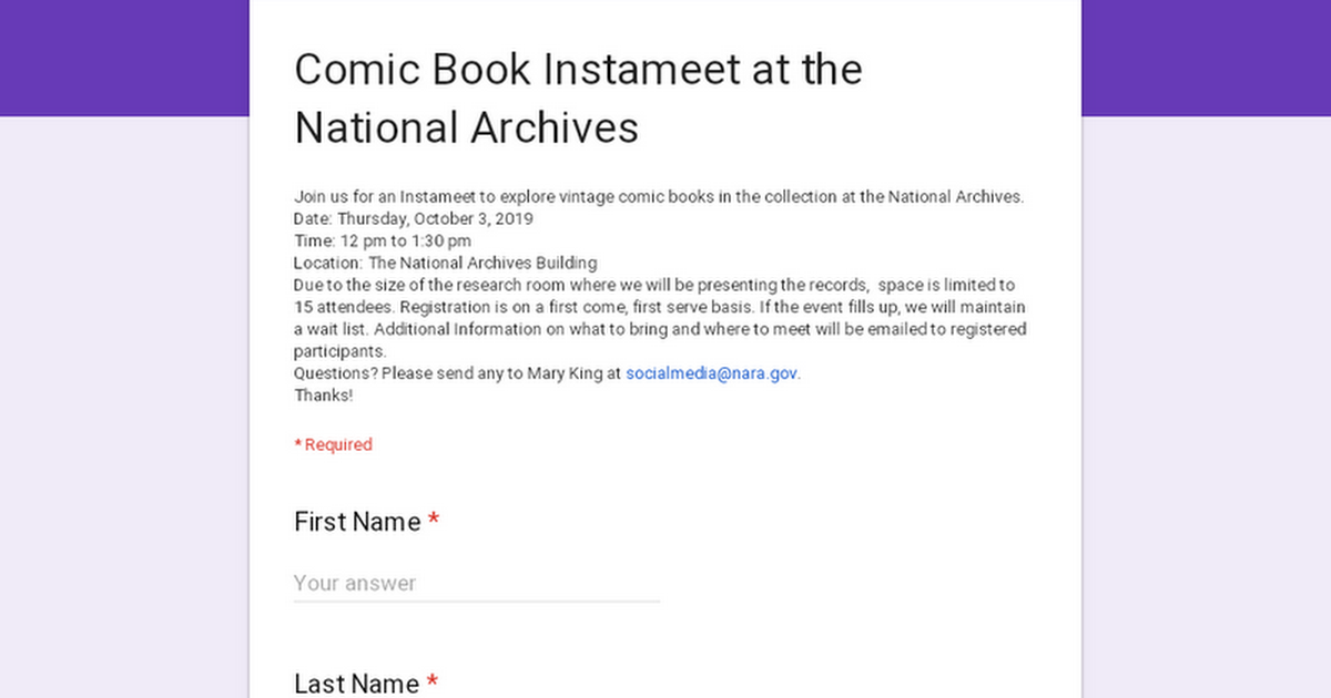 Comic Book Instameet at the National Archives