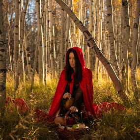 Lost her way  by Patrick Miyoshi - People Portraits of Women ( little red riding hood aspentrees landscape utah model, best female portraiture )