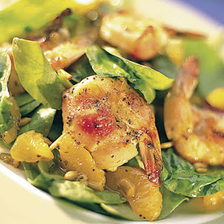 Bacon-Wrapped Shrimp and Orange Spinach Salad.
