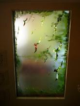 Photo: Vidro na lateral coberto com adesivo fosco e fasado na área das gaivotas. http://celiamartins.blogspot.com/