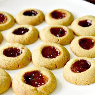 Cornmeal Thumbprint Cookies with Strawberry Jalapeño Fruit Spread