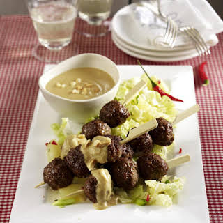 Meatball Satay with Chinese Cabbage Salad.