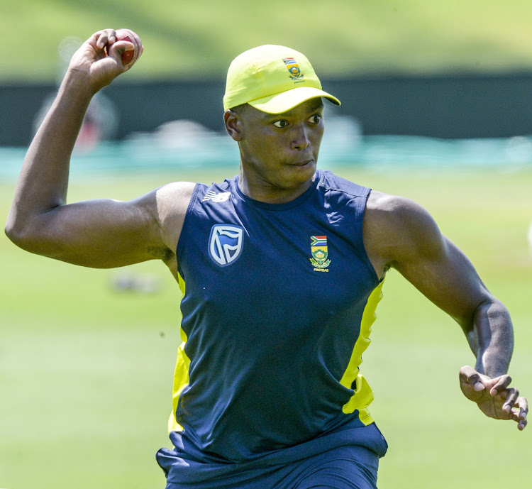 Lungi Ngidi of the Proteas during the South African national mens cricket team training session and press conference at SuperSport Park.