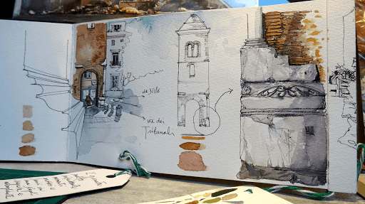stage carnet de voyage Naples_ AQUARELLE JEANNE PAPA