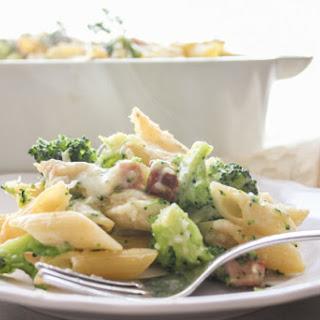 Creamy Broccoli Bacon Pasta Casserole.