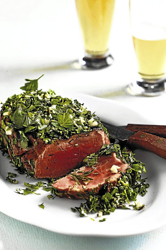Grilled rump with fresh herbs.