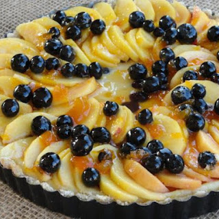 Drunken Blueberry Peach Cheesecake Tart