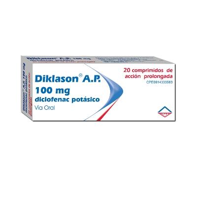 Diclofenac Potásico Diklason A.P 100mg x 20 Comprimidos