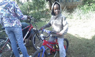 Photo: Getting their new bikes