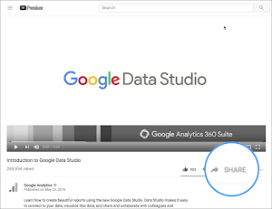 Screenshot of YouTube Share button.
