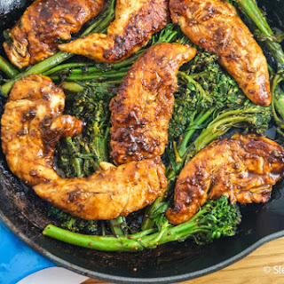 One Pan Mustard Balsamic Chicken and Broccolini.