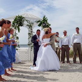 by Myra Brizendine Wilson - Wedding Ceremony ( bride, sunset beach, groom, bride and groom, beach wedding, wedding, family, sunset beach wedding,  )