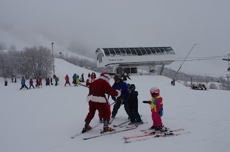 Photo: Santa finds more fans at the top of First Time lift.