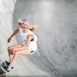 SuperGirl by Amit Zakay - Sports & Fitness Skateboarding ( skateboarding, skate, girl, skater, woman, action, sports, sport, skateboard, shadows, , best female portraiture )
