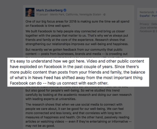 Aankondiging Mark Zuckerberg van Facebook over video