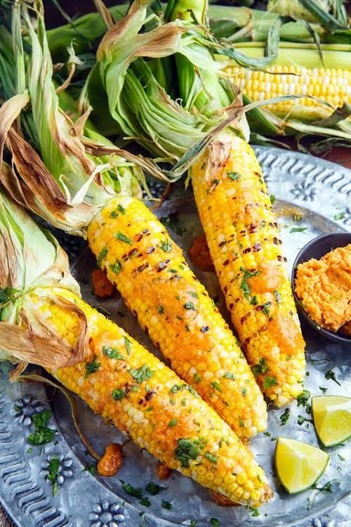 "Sriracha Maple Miso Butter Grilled Corn ""Grilled corn slathered in a sriracha,..."