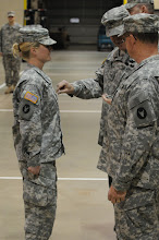 Photo: Sgt. Morgan Schaff was promoted to the rank of staff sgt. May 21 at the Cedar Street Armory.