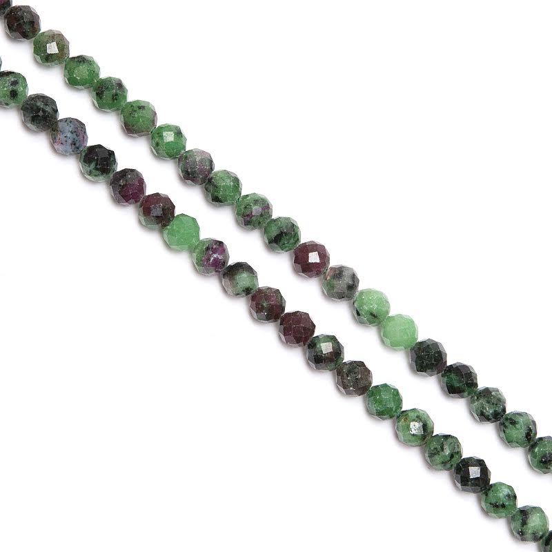 Zoisit med rubin rund fasett 6 mm