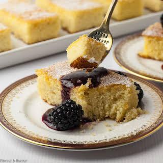 Flourless Lemon Almond Ricotta Cake with Blackberry Coulis.