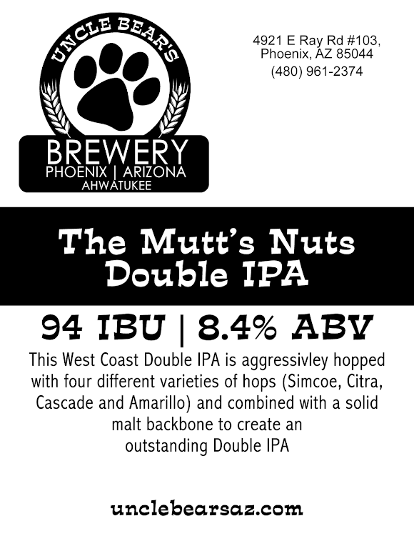 Logo of Uncle Bear's The Mutts Nuts DBL IPA