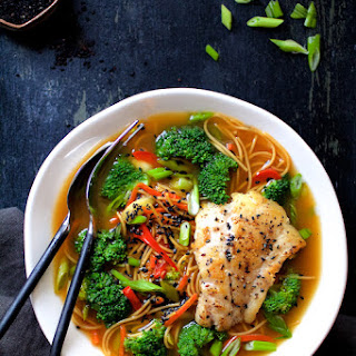 Asian Vegetable and Noodle Broth Bowls with Pan Seared Fish.