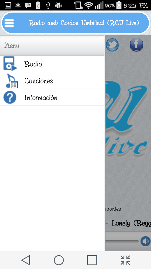 RCULive Radio Cordon Umbilical: captura de pantalla