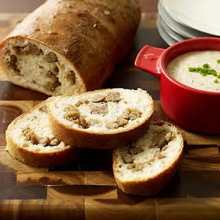 Savory Sausage Bread with Grainy Mustard Dip.