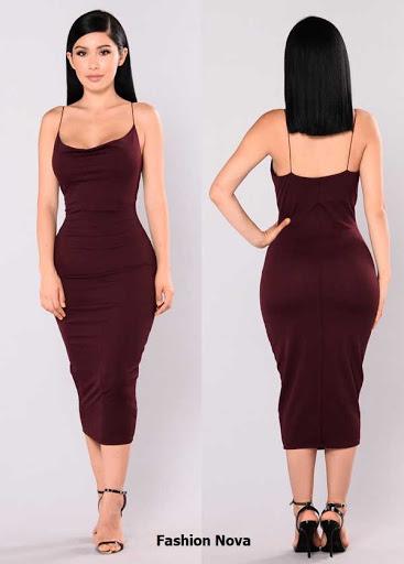 Vestido midi ajustado de tiras color vinotinto vendido por Fashion Nova
