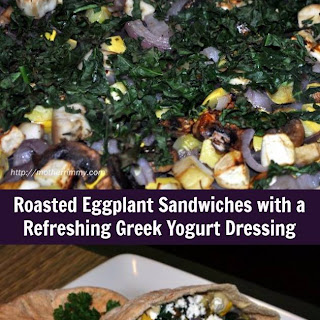 Eggplant Roasted Vegetable Sandwiches with Greek Yogurt Dressing.