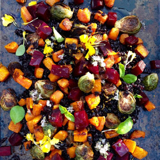Autumn Salad Recipe of Roasted Red Beets, Butternut Squash & Roast Brussels Sprouts.