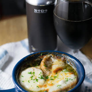 Bourbon Barrel Aged Russian Imperial Stout French Onion Soup.