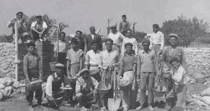 Trabajadores construyendo estructuras con los primeros invernaderos.