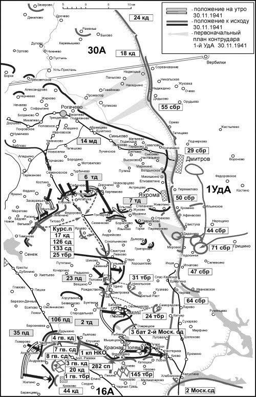 Положение на правом фланге Западного фронта 30 ноября 1941г.