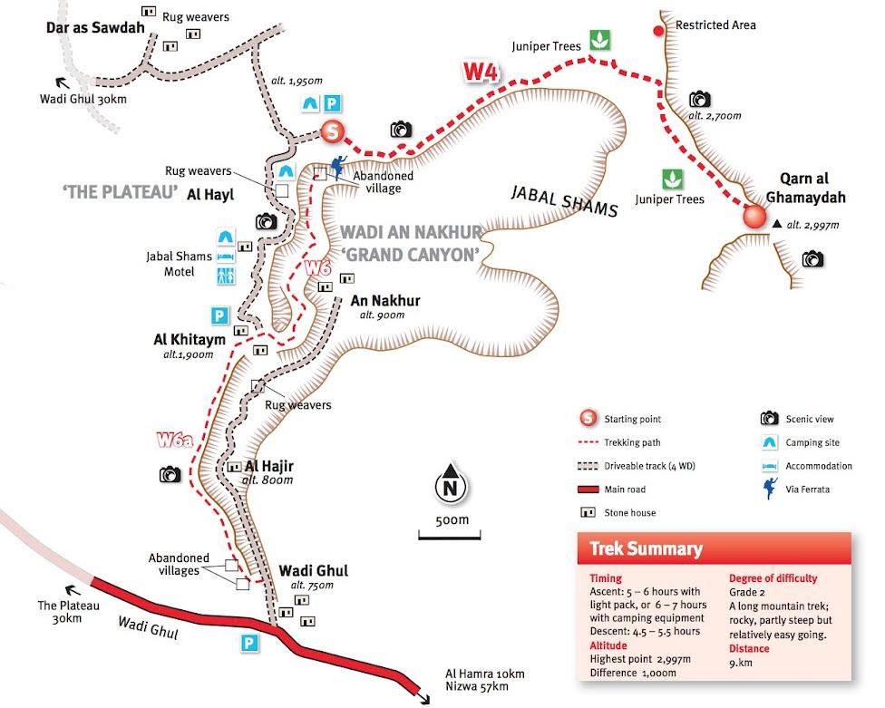 mapa okolic Wielkiego Kanionu Omanu - od Wadi Ghul przez Balcony Walk po Jabal Shams