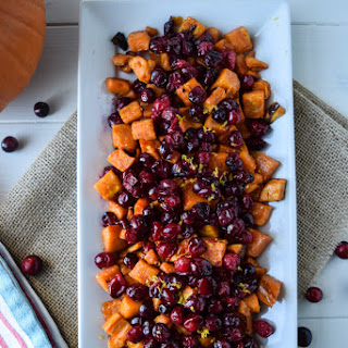 Roasted Maple Sweet Potatoes and Cranberries