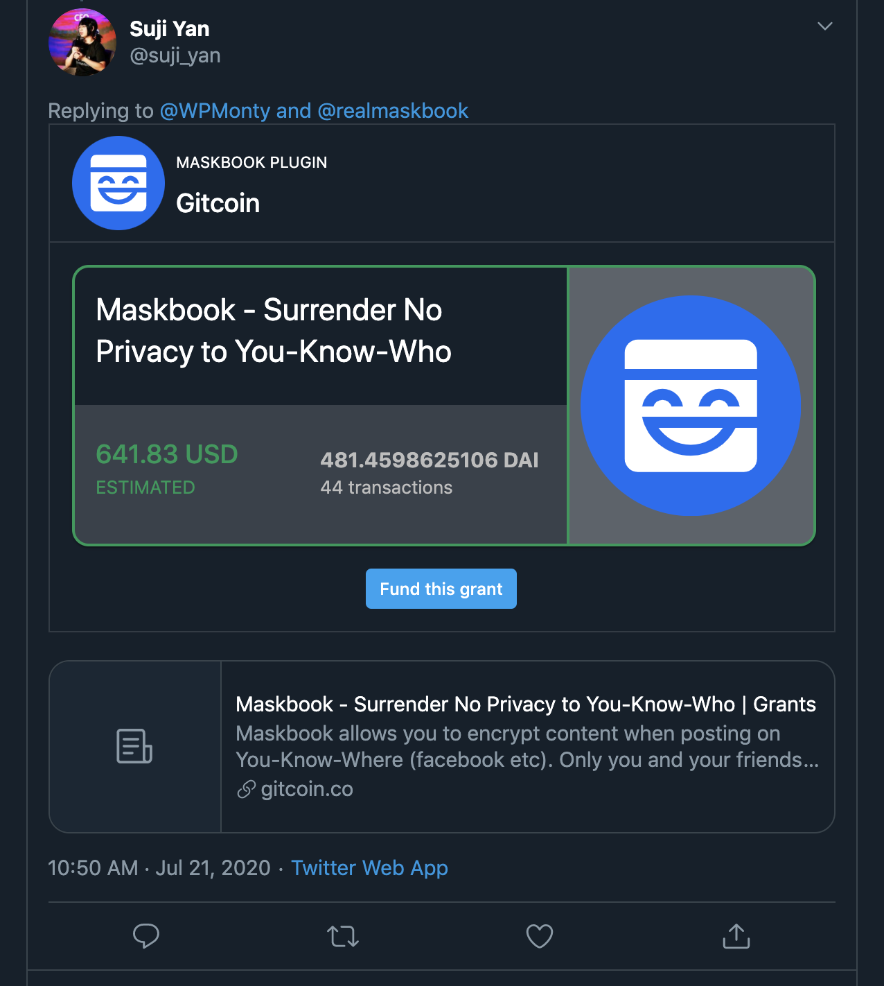 Maskbook progressive enhanced Gitcoin embed