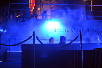 Photo: Back in the hot tube as we search for the lights