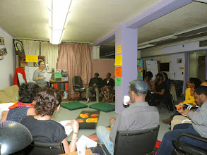 Photo: 4.16.15 BMC - Tasha (Program Coordinator, S.O.S) kicking things off and welcoming us into their space