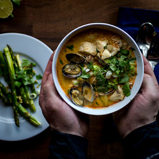 Coconut Curry Seafood Chowder with Rockfish and Manilla Clams Recipe