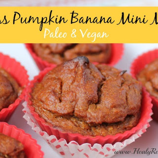 Pumpkin Banana Mini Flourless Muffins.