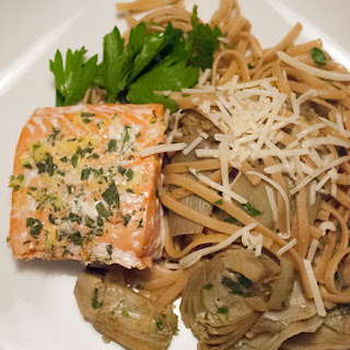 Pasta with Artichokes and Salmon with a Rosemary and Lemon Gremolata